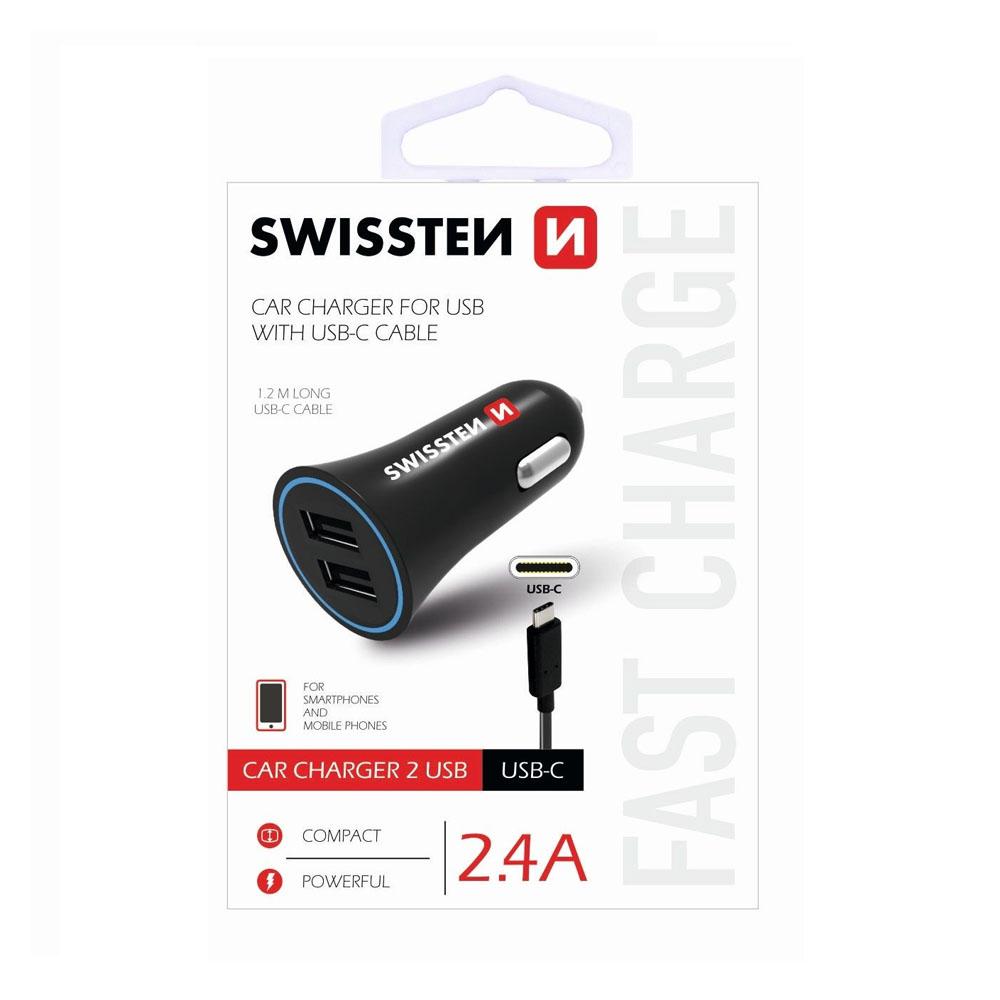 Autoadaptér Swissten CL 2,4A power 2x USB + kábel USB-C