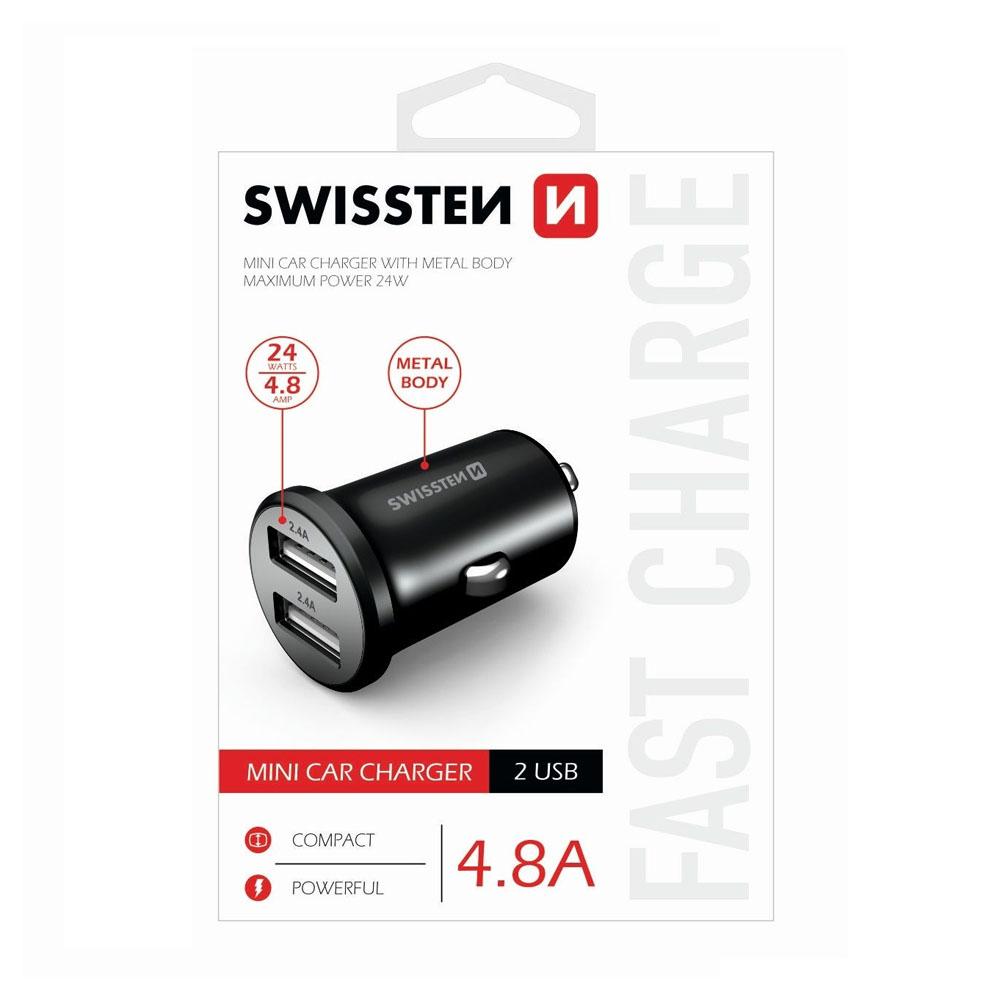 Autoadaptér Swissten CL 2x USB 4,8A, metal, čierny