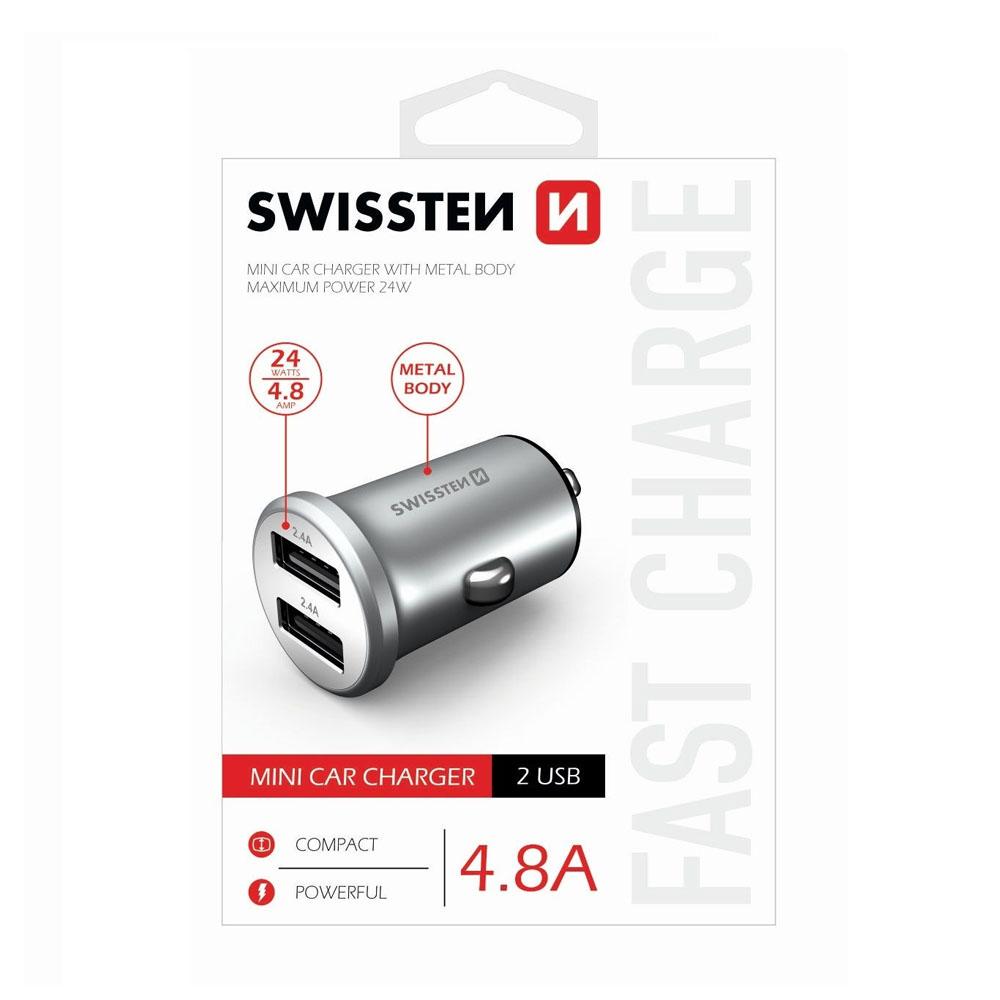 Autoadaptér Swissten CL 2x USB 4,8A power, strieborný