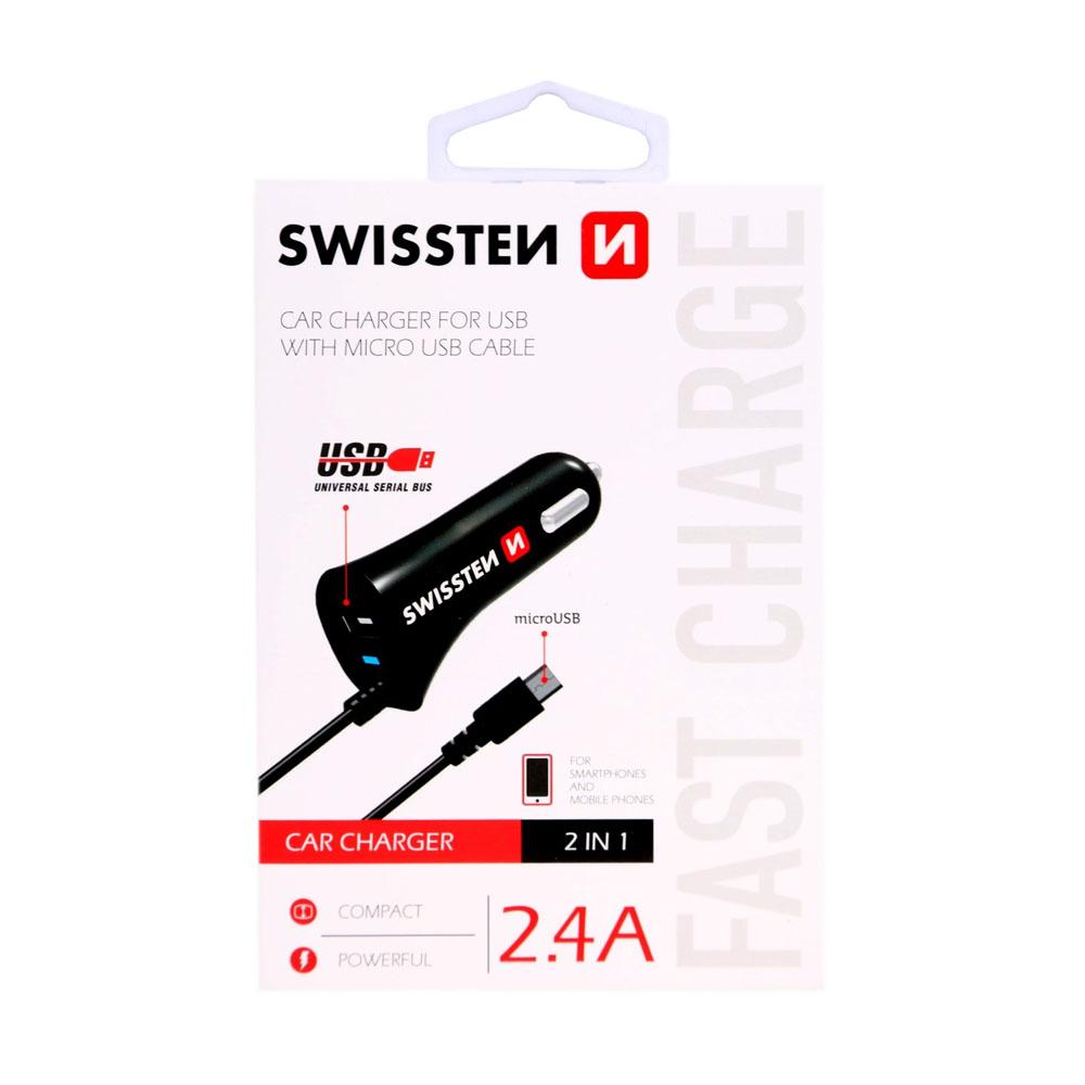 Autoadaptér Swissten CL Quick 3.0A USB 2,4A 18W power + kábel micro USB