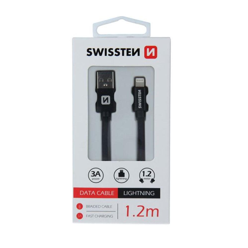 Dátový kábel Swissten Iphone textil USB/Lightning 1,2m, čierny