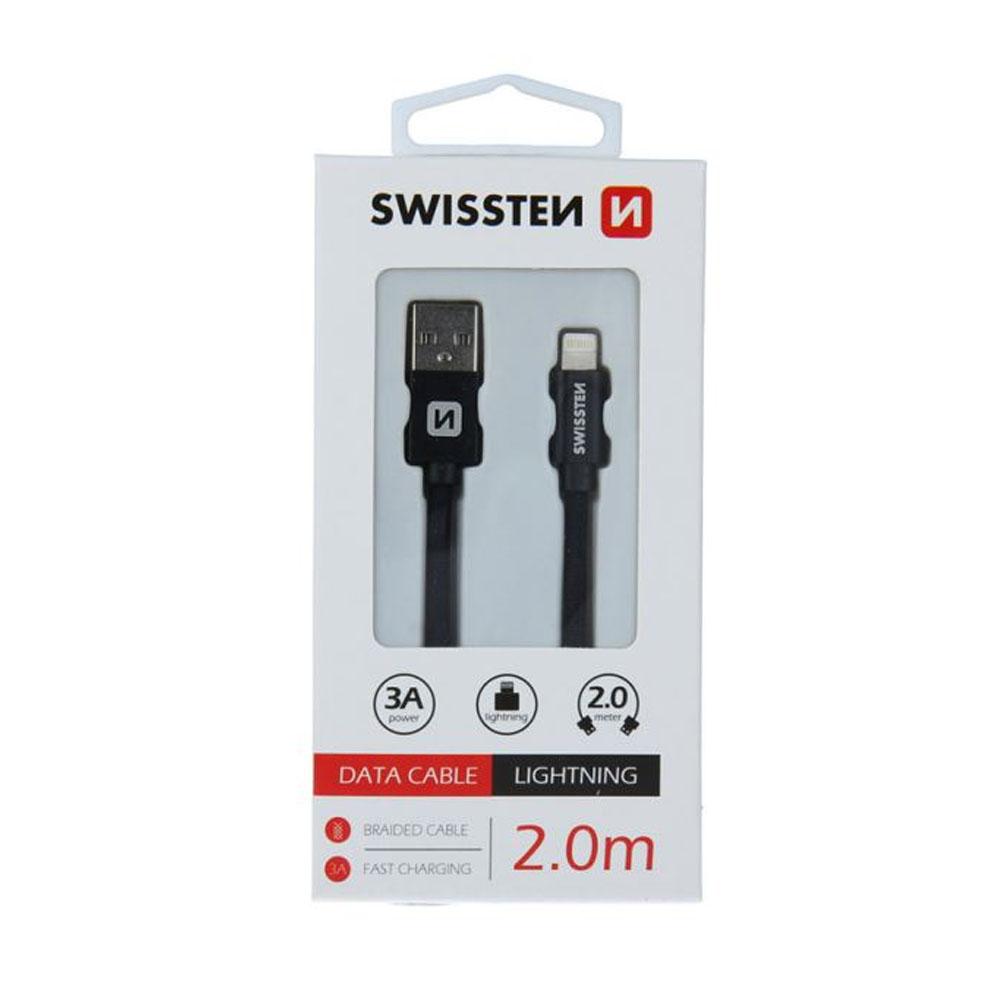 Dátový kábel Swissten Iphone textil USB/Lightning 2m, čierny