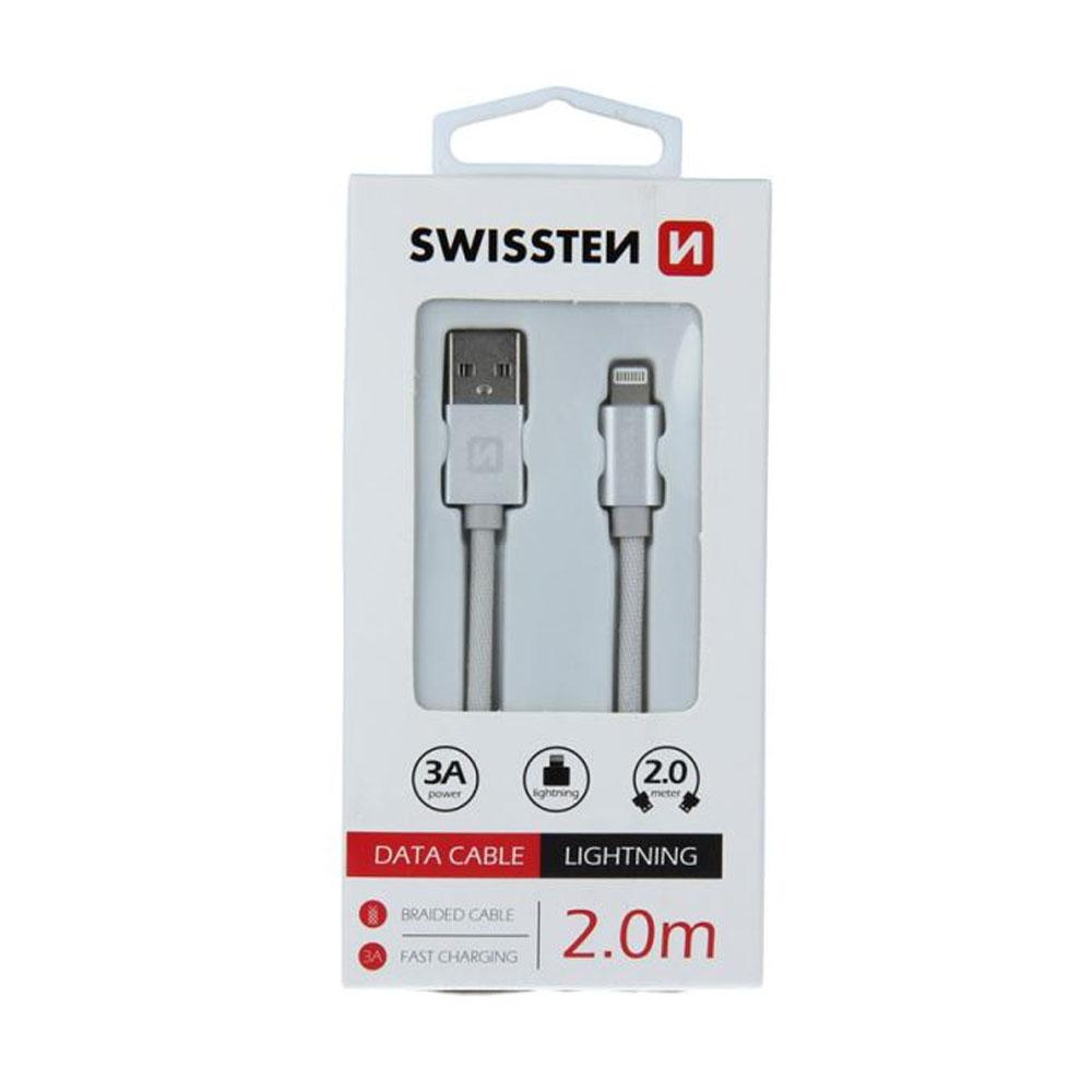 Dátový kábel Swissten Iphone textil USB/Lightning 2m, strieborný
