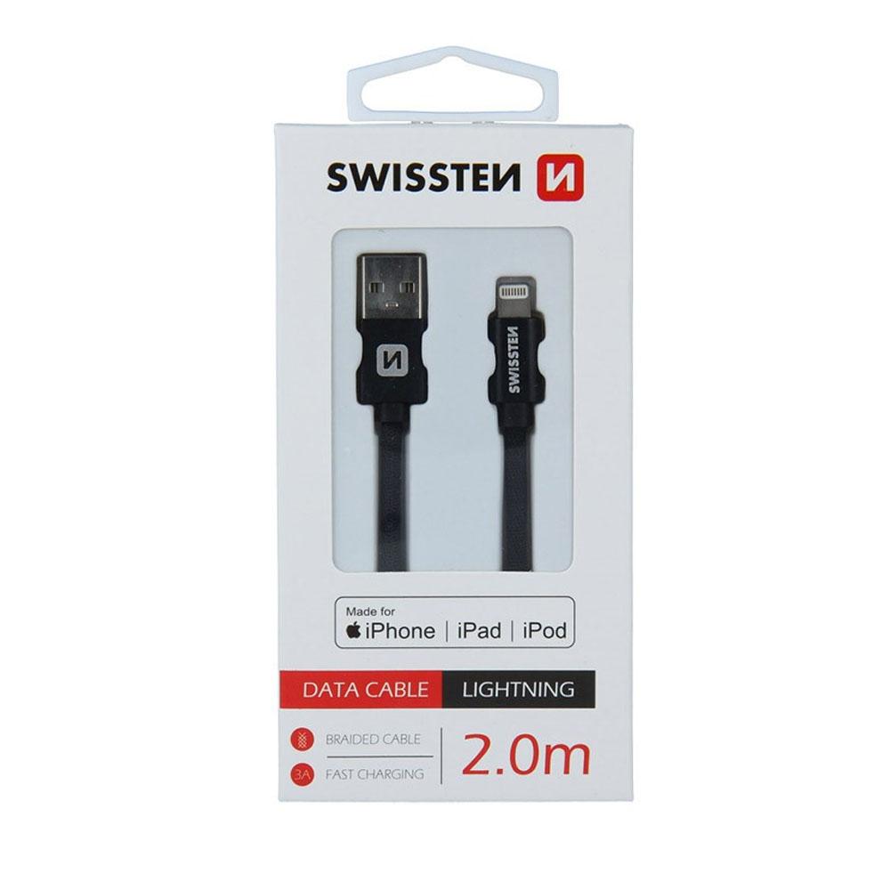 Dátový kábel Swissten Iphone textil USB/Lightning MFi 2m, čierny