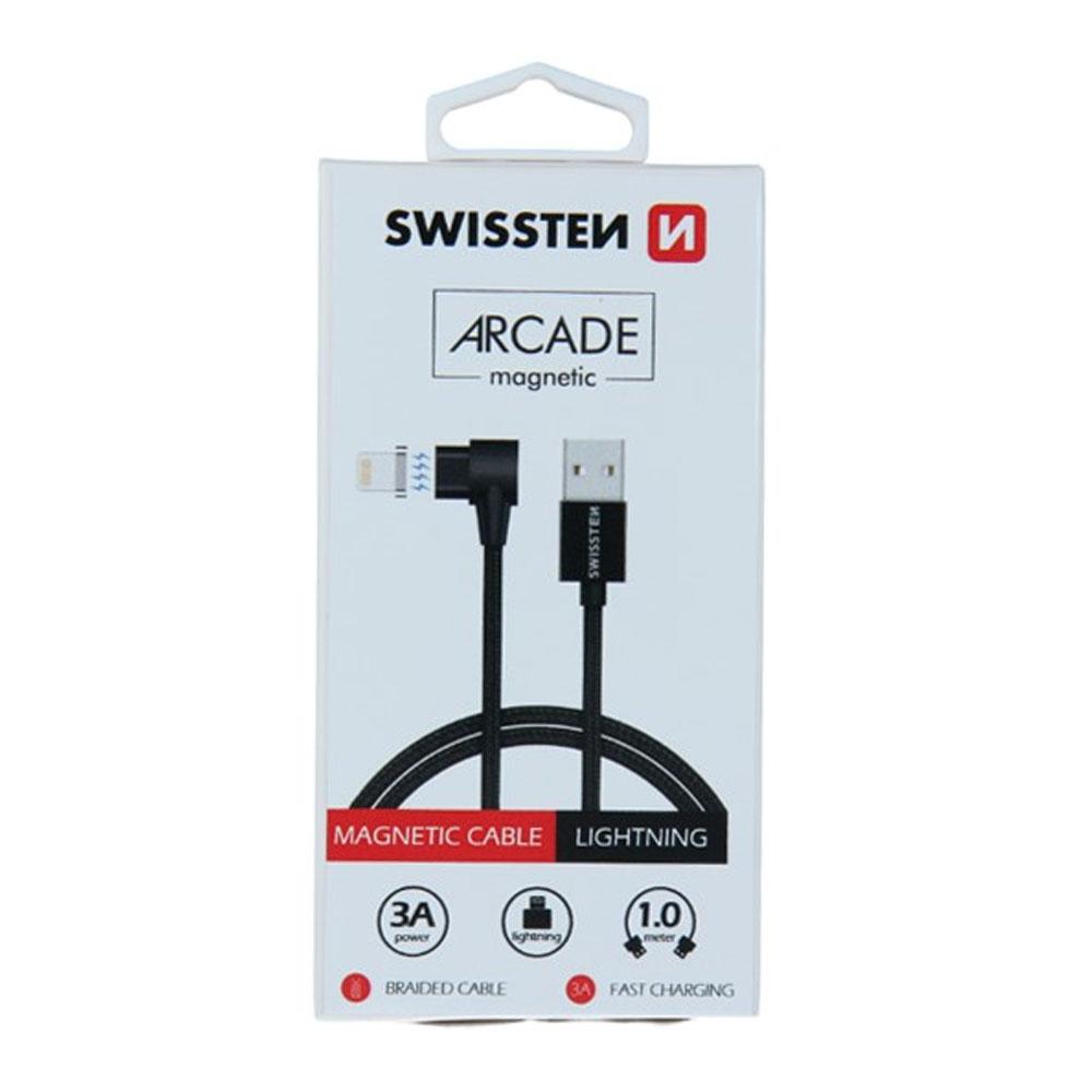 Dátový kábel Swissten - magnetický textil USB/Lightning 1,2m, čierny