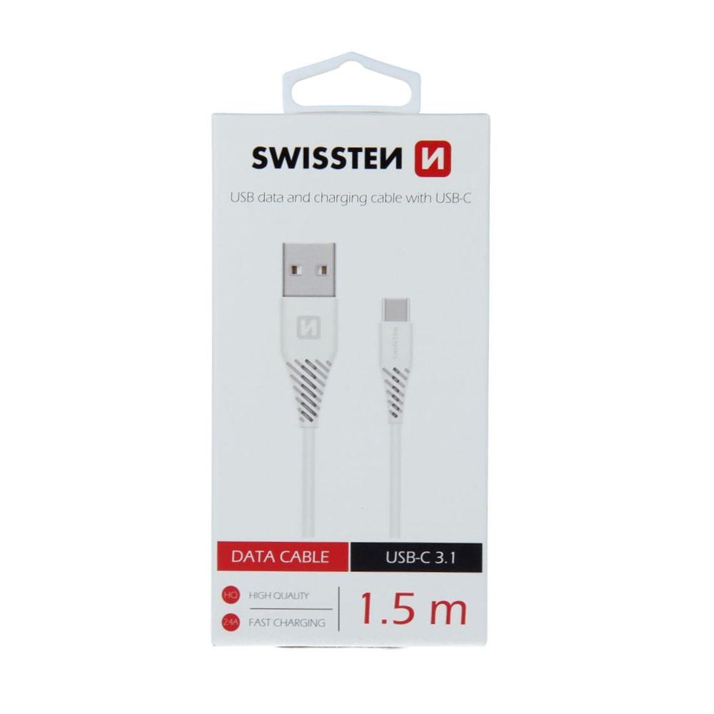 Dátový kábel Swissten USB/USB-C 3.1 1,5m, biely