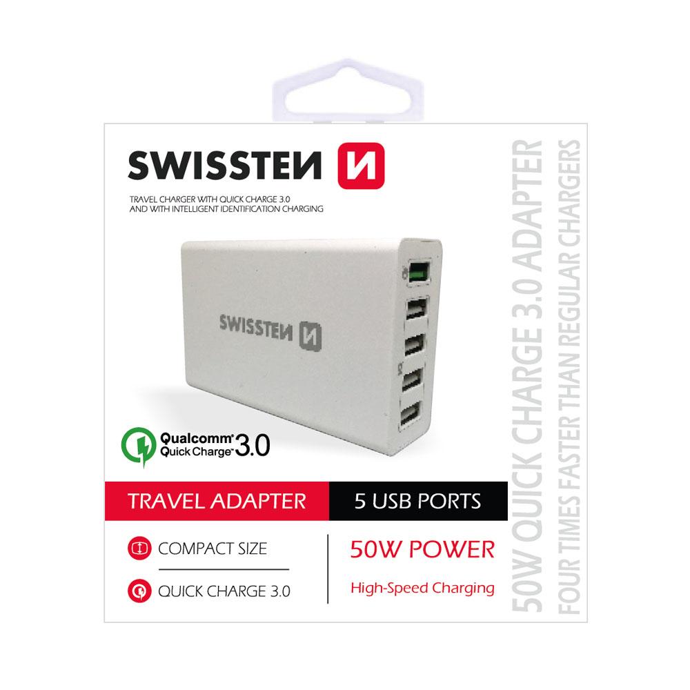 Sieťový adaptér Swissten Qualcomm 3.0 Quick charge + smart IC 5xUSB 50W power, biela
