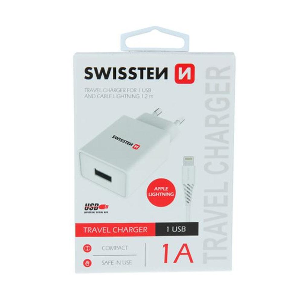 Sieťový adaptér Swissten Smart IC 1x USB 1A power + dátový kábel USB/USB-C 1,2m, biely
