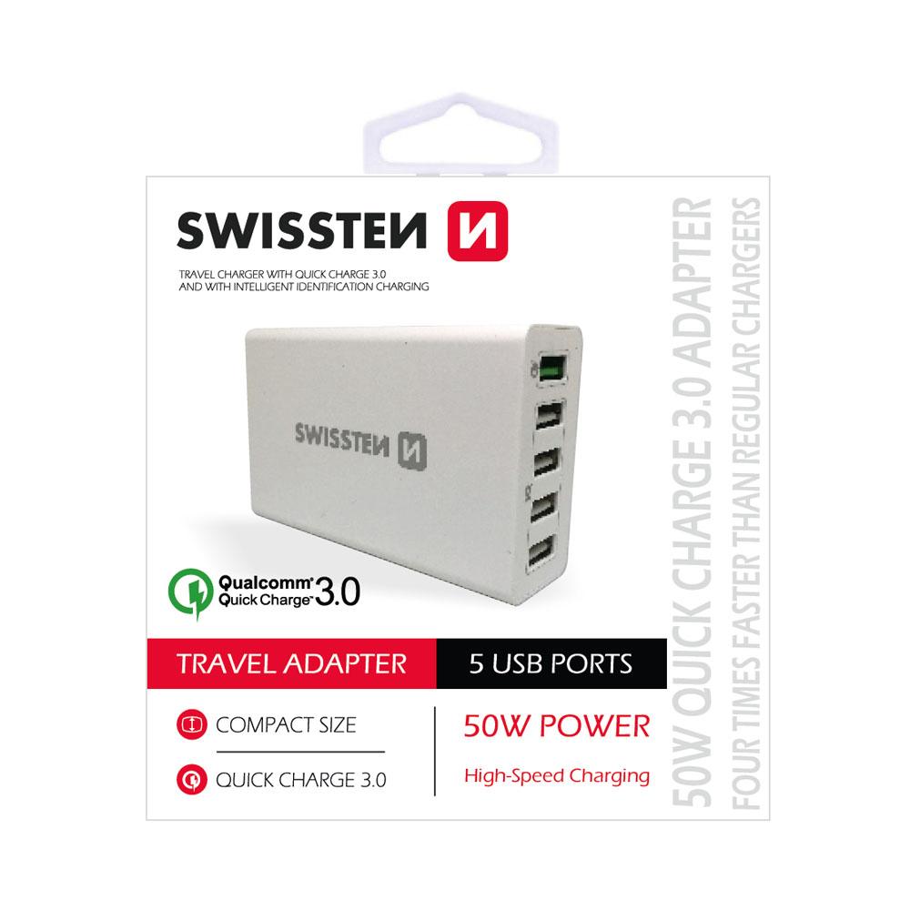 Sieťový adaptér Swissten SMART IC 2x USB 3,1A power, biely