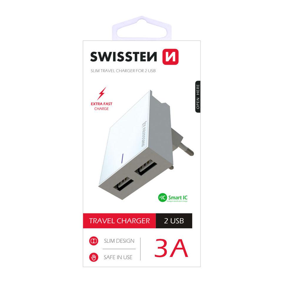 Sieťový adaptér Swissten Smart IC 2x USB 3A Power, biely