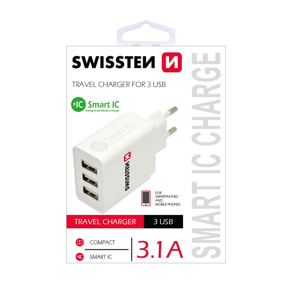 Sieťový adaptér Swissten SMART IC 3x USB 3,1A power, biely
