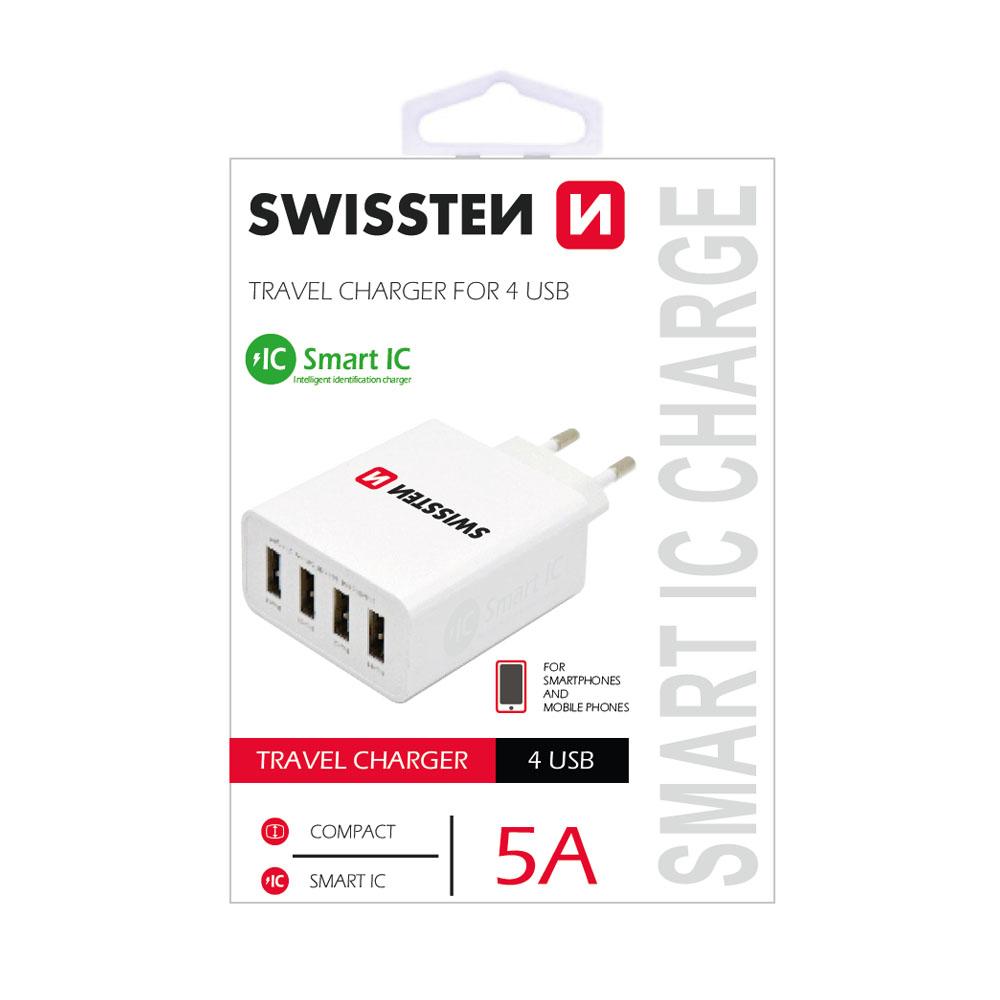 Sieťový adaptér Swissten SMART IC 4x USB 5A power, biely