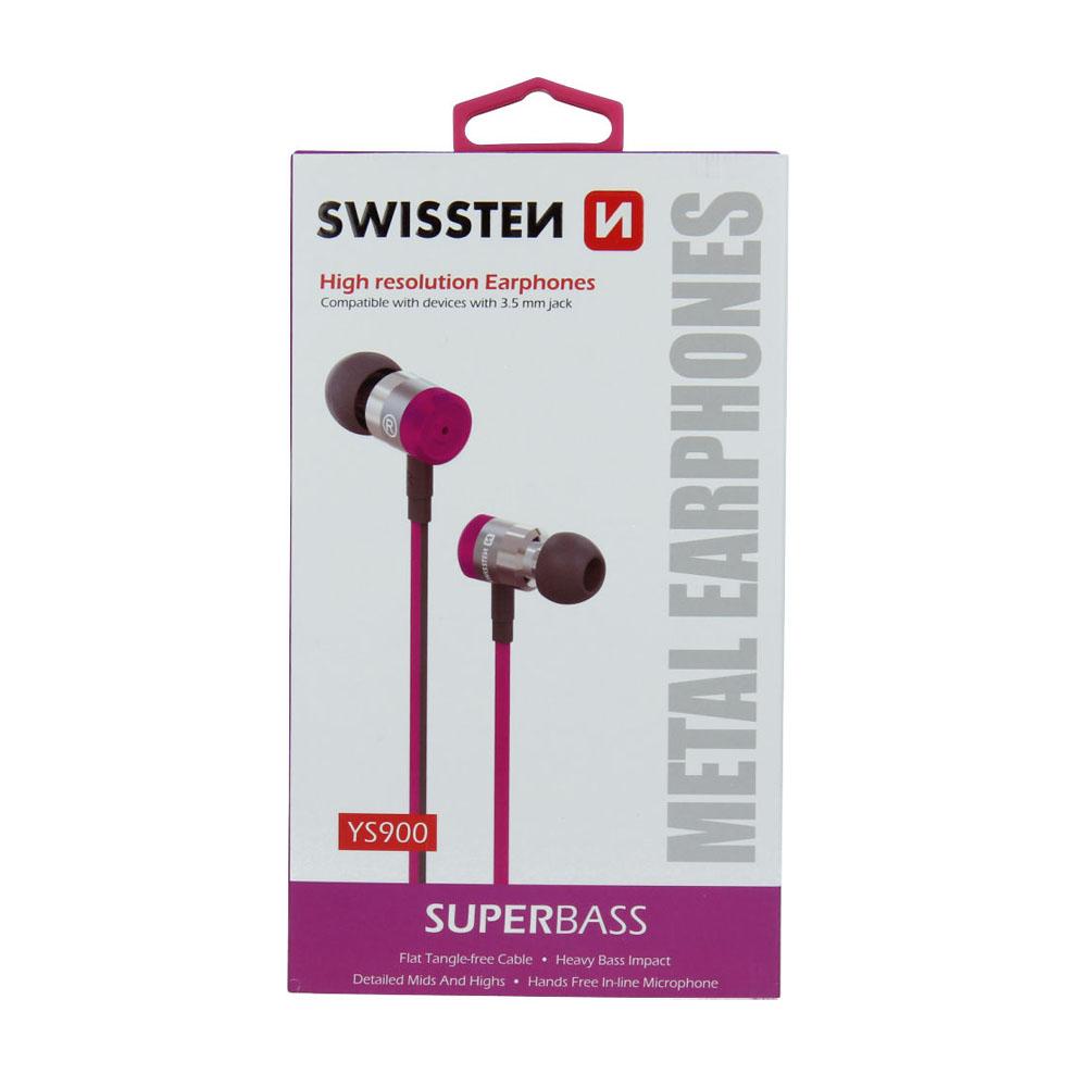 Slúchadlá Swissten Earbuds SuperBass YS900 ružové
