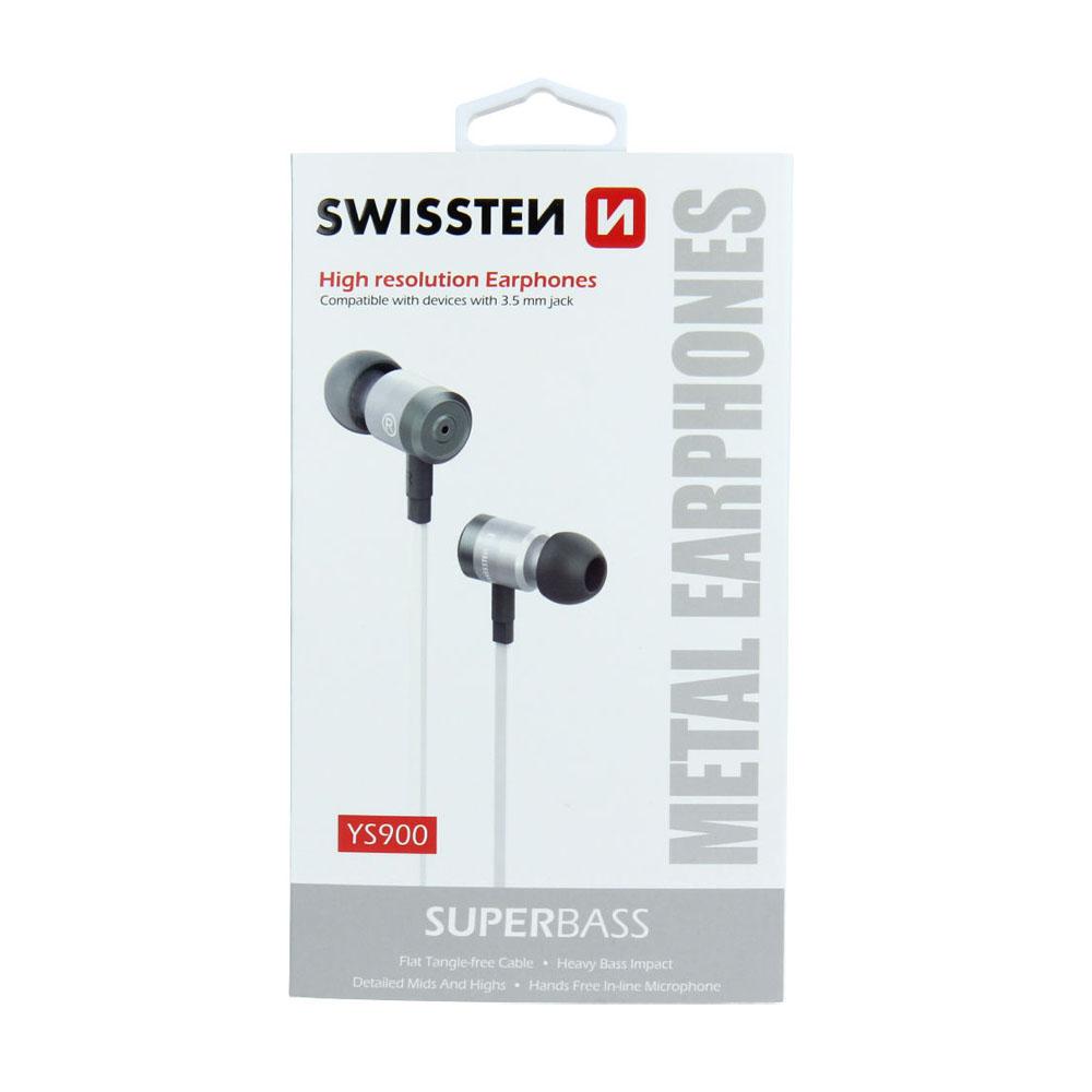 Slúchadlá Swissten Earbuds SuperBass YS900 strieborno-biele