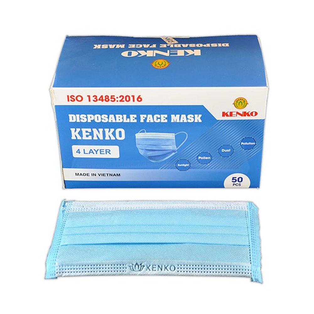 Ochranná pracovná pomôcka - jednorazové štvorvrstvové rúško na tvár (50ks)