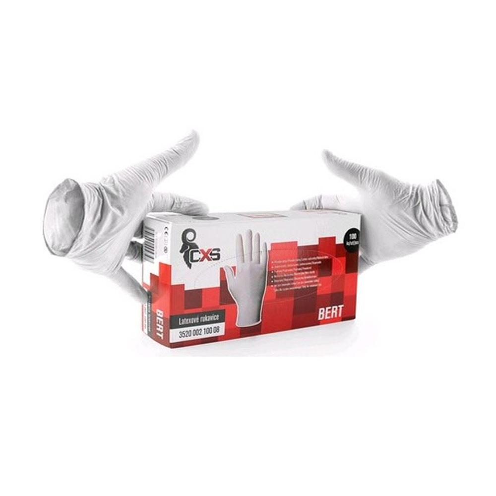 Ochranné rukavice BERT Latexové jednorazové pudrované M 100ks