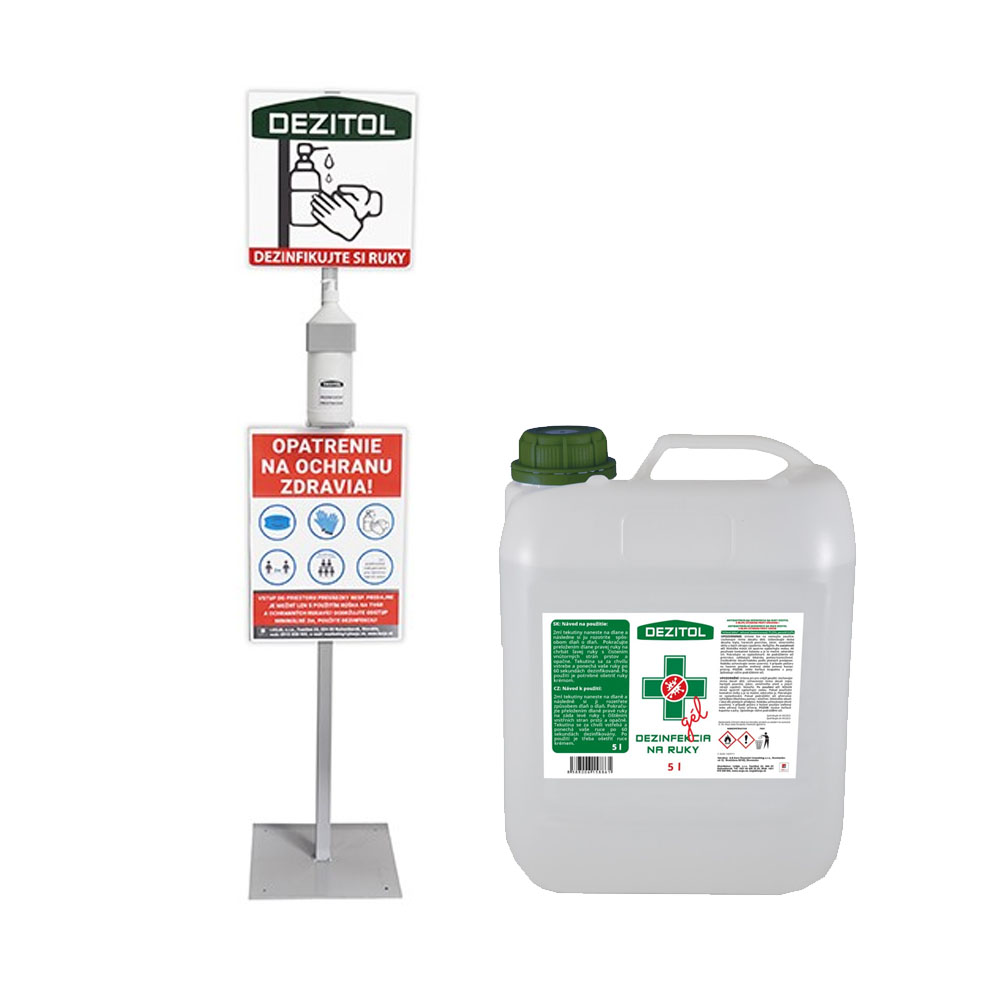 Stojan na dezinfekciu + dezinfekčný gél na ruky DEZITOL 5L