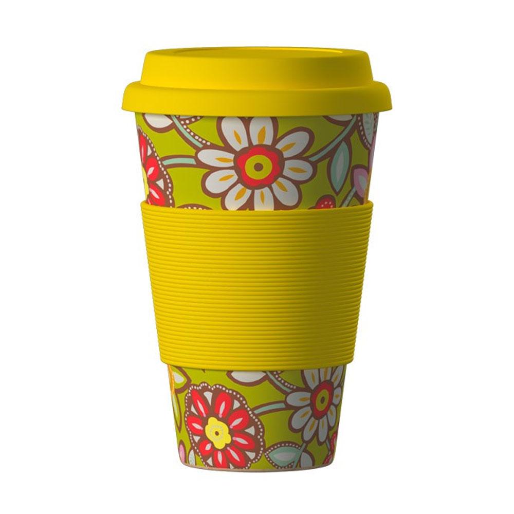 Znovupoužiteľný Eko Termohrnček Areon Eco Bamboo Cup - motív Daisies Yellow