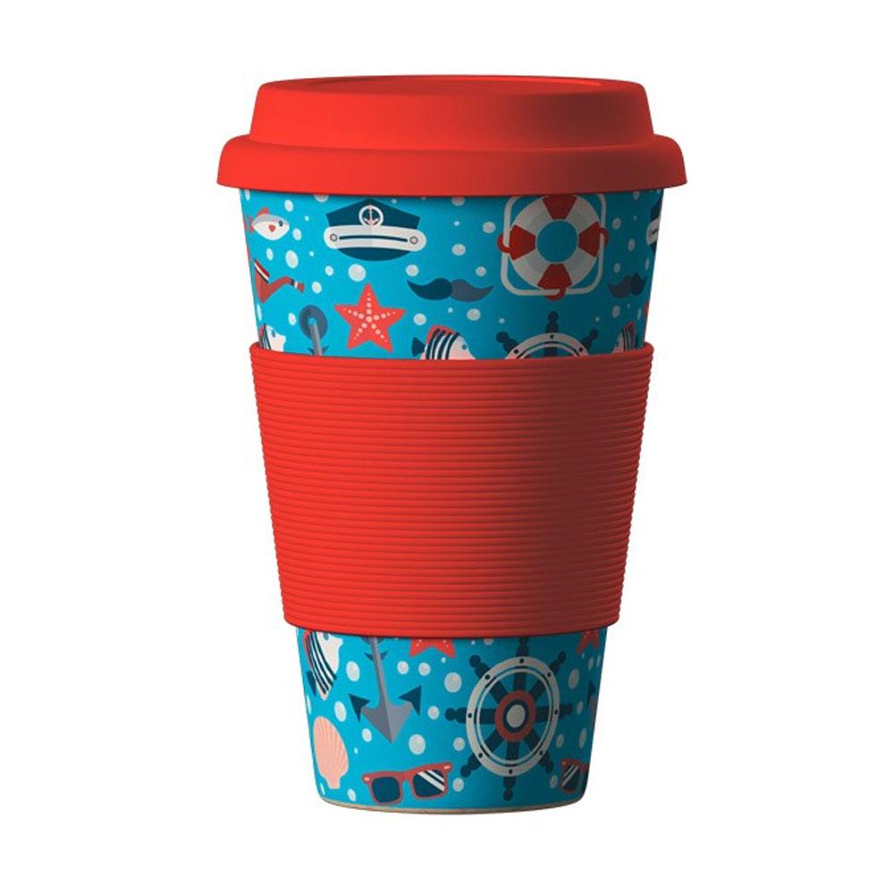 Znovupoužiteľný Eko Termohrnček Areon Eco Bamboo Cup - motív Sea Red