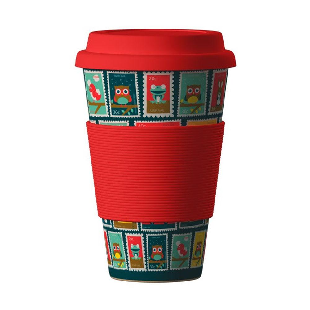 Znovupoužiteľný Eko Termohrnček Areon Eco Bamboo Cup - motív Stamps Red