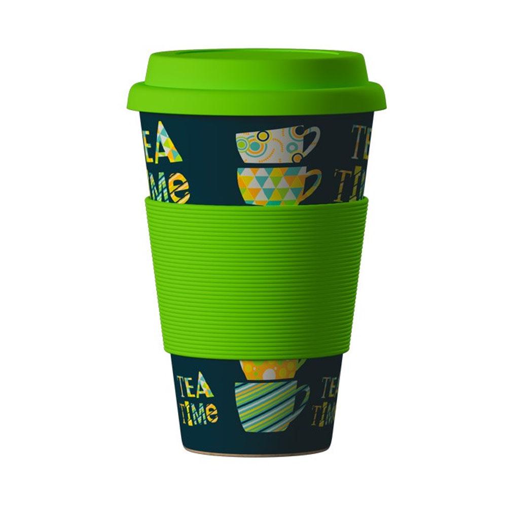 Znovupoužiteľný Eko Termohrnček Areon Eco Bamboo Cup - motív Tea Time Green