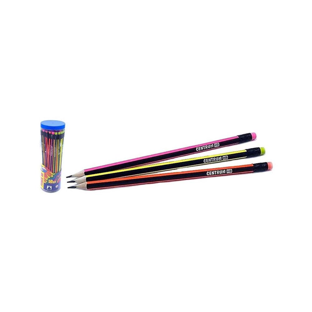 Ceruzka s gumou HB s neónovým pásikom