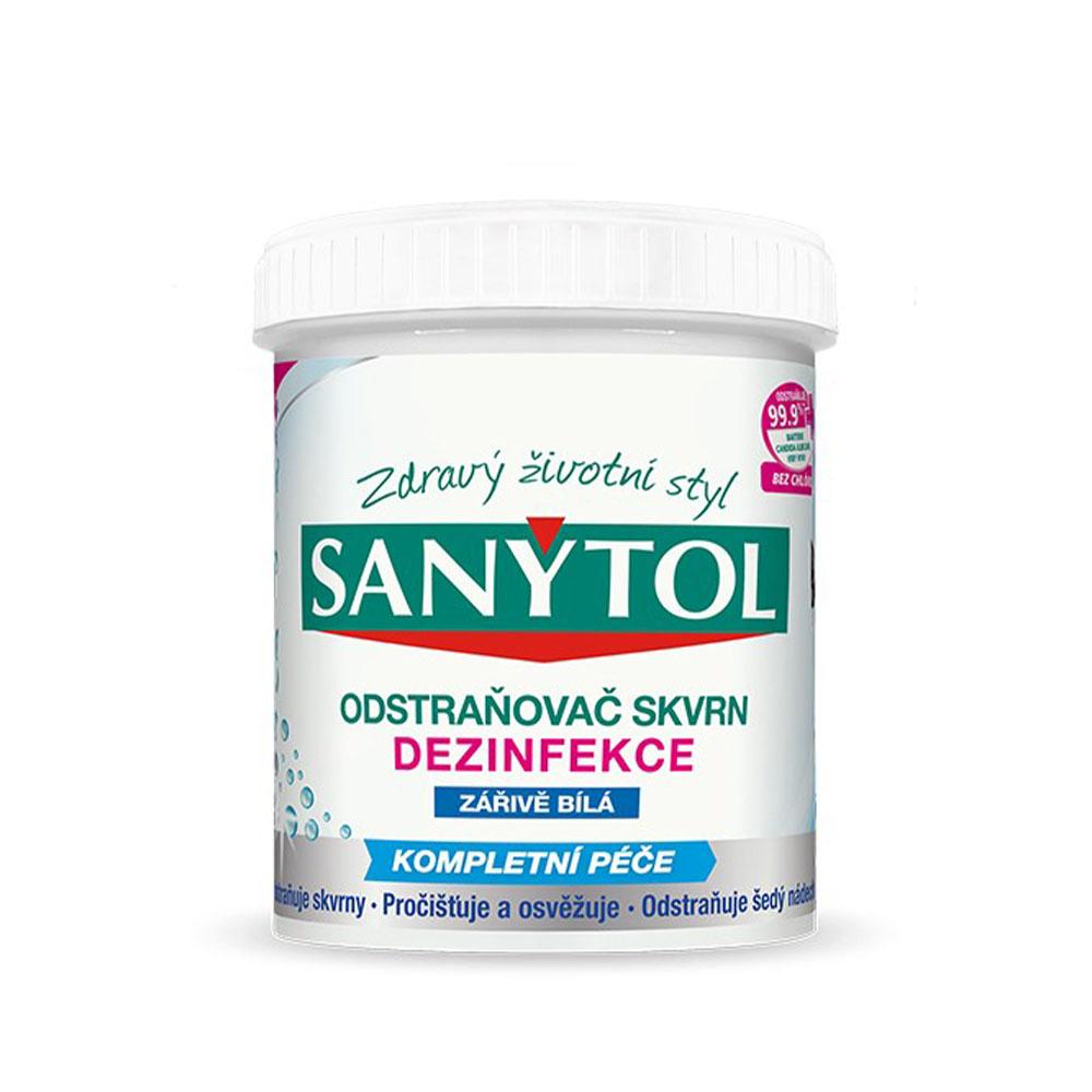 Dezinfekčný odstraňovač škvŕn na žiarivo bielu bielizeň Sanytol