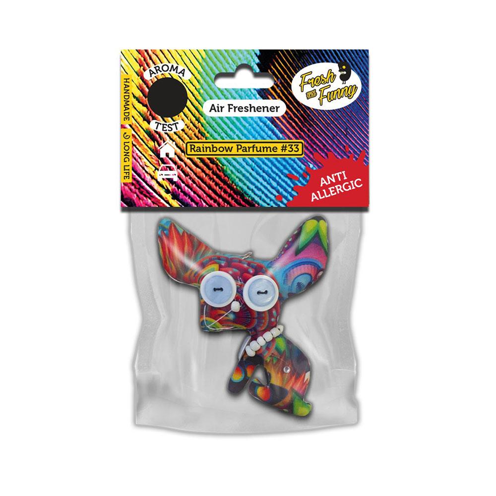 Osviežovač vzduchu Fresh and Funny - vzor Kojot, vôňa Rainbow
