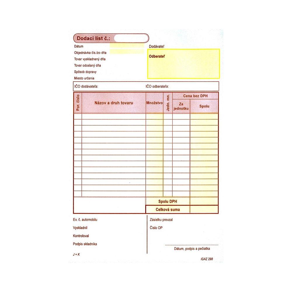 Samoprepisovací dodací list, A5, 100 listov, dvojfarebný