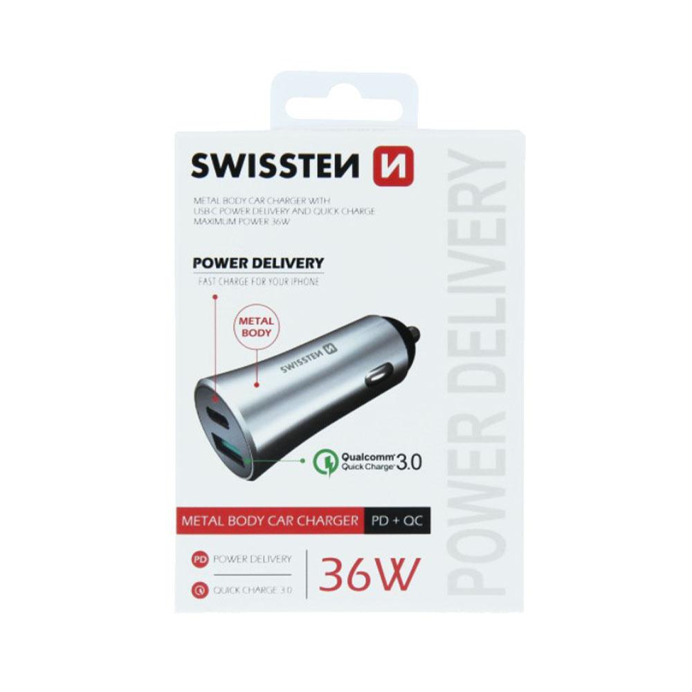 Autoadaptér Swissten Power Delivery USB-C+Quick Charge 3.0, 36W, strieborný