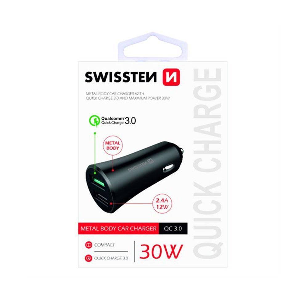 Autoadaptér Swissten Quick Charge 3.0, USB 2,4 A 30W, čierny
