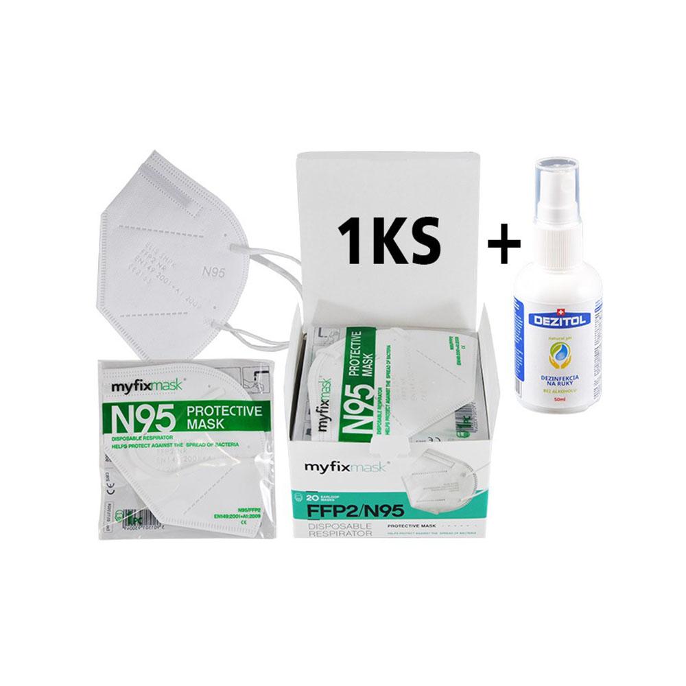 Biely respirátor FFP2 (1ks) a dezinfekcia Dezitol AQUA (50 ml)