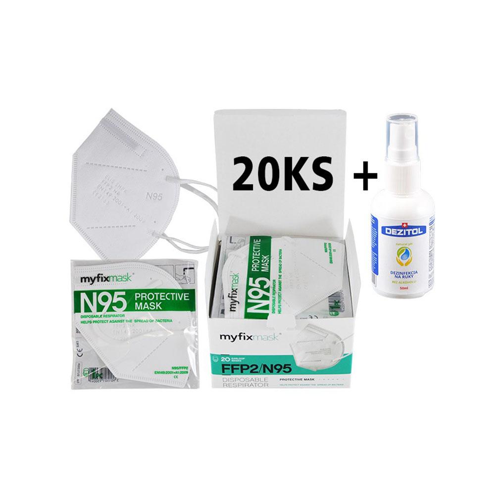 Biely respirátor FFP2 (20ks) a dezinfekcia Dezitol AQUA (50 ml)