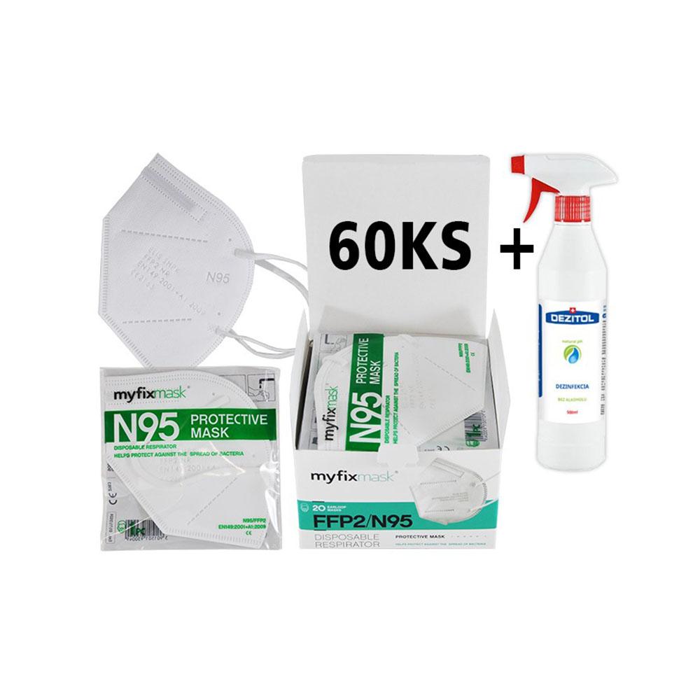 Biely respirátor FFP2 (60ks) a dezinfekcia Dezitol AQUA (500 ml)