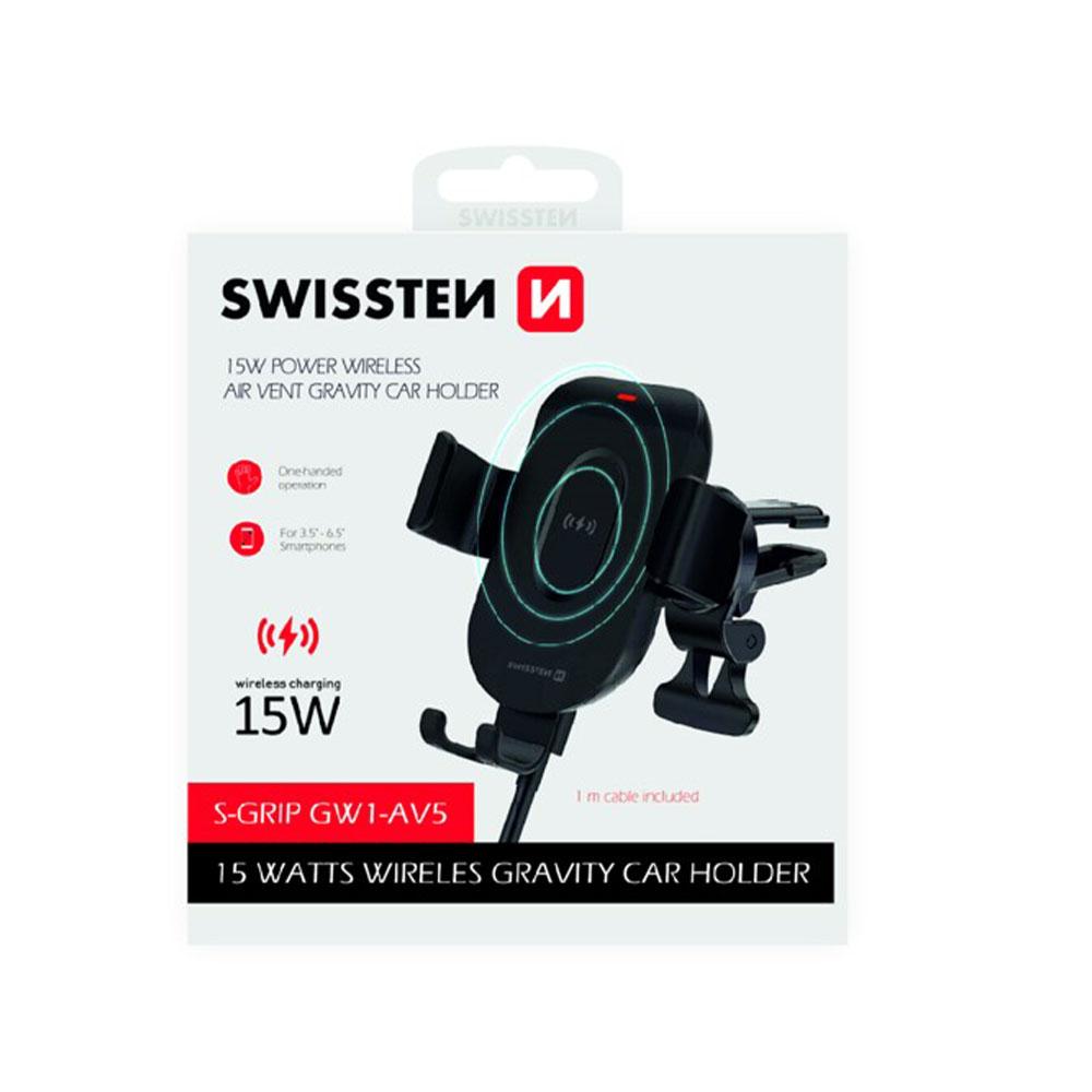Držiak do ventilácie auta s bezdrôtovým nabíjaním Swissten , 15W S-GRIP, GW1-AV5